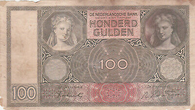 100 Gulden Vg Banknote From The German Occupied Netherlands 1944  Pick-51