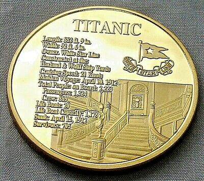 Titanic Gold Stairs Coin Commemoration Medal Worlds Famous Ship White Star Line