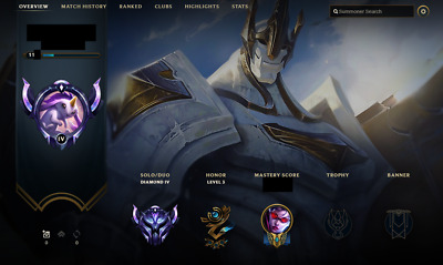 League of Legends LoL account / EUNE / Diamond / All champions / 324 skins