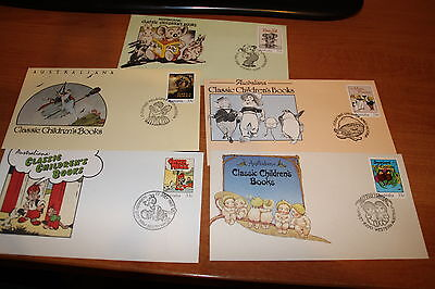 1985 Classic Childrens Book Council Fdc Set Of 5 Covers