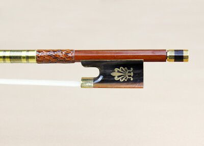 4/4 Size Pernambuco Violin Bow OX-horn Frog With Peacock Flower Gold Mounted