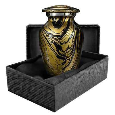 Desert Sands Gold and Black Small Keepsake Urn for Human Ashes - Qnty 1 - w Case