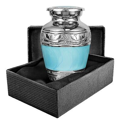 Hugs and Kisses Elegant Light Blue Small Keepsake Urn for Human Ashes - Qnty 1
