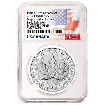 2019 Modified Proof $5 Silver Canadian Maple Leaf NGC PF69UC ER Flags Label Prid