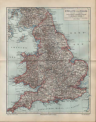 Landkarte map 1895 ENGLAND UND WALES. Durham York Stafford Suffolk Devon Denbigh