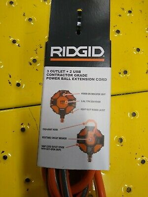 Ridgid 8 ft. Indoor/ outdoor extension cord,extension cord,USB cord,USB adapter