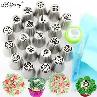 23Pcs Russian Tulip Icing Piping Tips Christmas Design Pastry Nozzles Cupcake Co