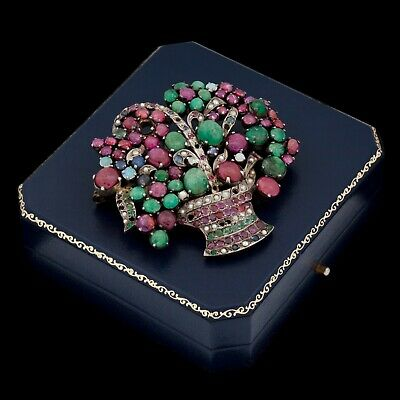 Antique Vintage Deco 10k White Gold 87.77 Ct Ruby Emerald Fruit Salad Pin Brooch