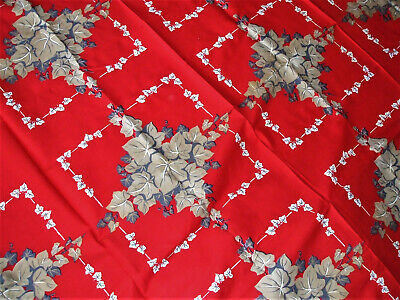 """Vtg Calaprint Red Tablecloth Ivy Print Tan Gray White 54""""x70"""" Mint Cond 1950s"""