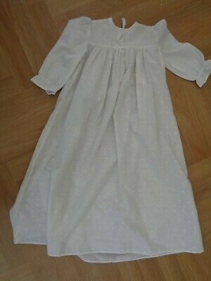 Antique Vintage White Cotton Christening Gown in Broderie Anglais.