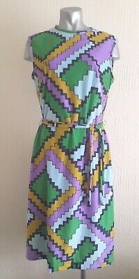Vintage 60S Striking Blue & Purple Psychedelic Mod Dolly Retro Shift Dress 12 14