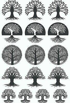 "Tree Mania 16 pcs 3/4"" to 1"" Black Fused Glass Decals 5"" X 3-1/2"" Card 19CC1142"