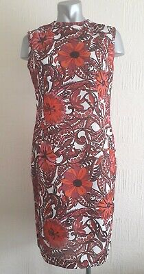 Vintage 60S Pink Red Psychedelic Flower Print Retro Mod Dolly Shift Dress 12 14