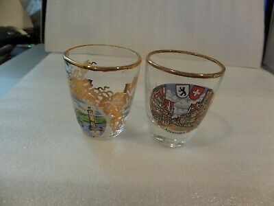 2 Vintage German shot glasses shows Appenzell on one other Lindau im Bodensee