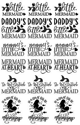 "Little Mermaid 18 pcs 1"" Black 5"" X 3.5"" Card Fused Glass Decals 19CC1146"