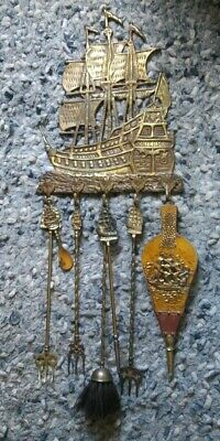 vntg MID CENTURY medieval GOTHIC Tudor CAST brass SHIP hanging FIREPLACE TOOLS