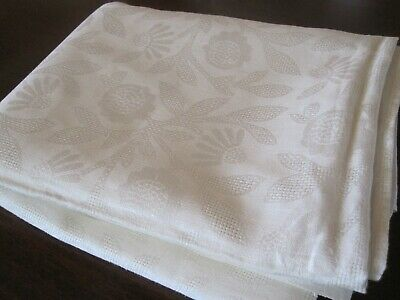 Vintage Polish White Damask Linen Tablecloth 1960'S Mid Century 64 X 92 Vguc