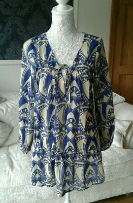 Antik Batik Drawstring Fine Cotton Blue Dress/Kaftan - Size S Small UK 10
