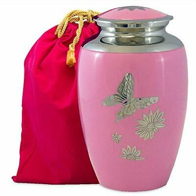 Pink Butterfly Lovely Adult Cremation Urn for Human Ashes - w Velvet Bag