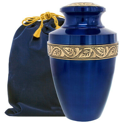 Serenity Blue Beautiful Adult Cremation Urn for Human Ashes - w Velvet Bag
