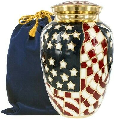 Patriotic Large Adult Urn for Human Ashes - for Veterans and Patriots - w Bag