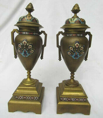 Pair of antique French Champleve enamel bronze Moorish style footed mantle urns