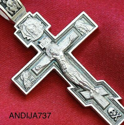 Big Mens Russian Orthodox Icon Cross Pendant, Silver 925 New. Blessed. Christian