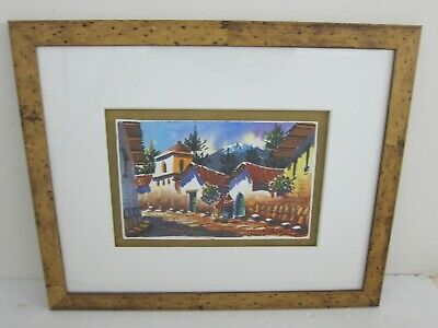 Andes Mountain Village Modernist Watercolor Painting Birdseye Maple Framed 15x18