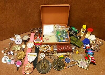Large Junk drawer Estate lot collectables, jewelry watches, pins marbles etc..