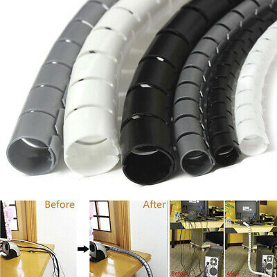 2M Cable Hide Wrap Tube 10/25mm Organizer & Management Wire Spiral Flexible J~