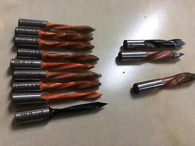 15 pcs 1/4in, 3/8in, 1/2 in Carbide Line Boring Point drill bits