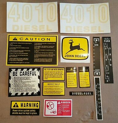 John Deere Hood Decal Set For 4010 Tractor