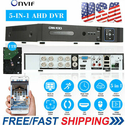 OWSOO 1080P 8CH AHD TVL NVR DVR 5In1 Video Recorder P2P CCTV Onvif Security T4G1