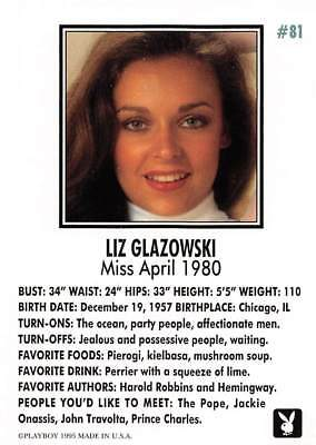 Playboy 1995 Trading Card Liz Glazowski Miss April 1980 #81
