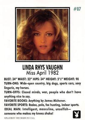 Playboy 1995 Trading Card Linda Rhys Vaughn Miss April 1982 #87