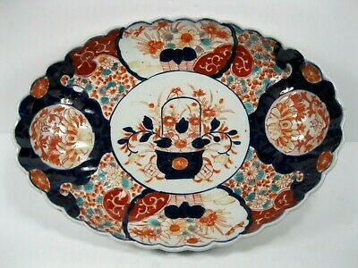 Antique Japanese Imari Oval bowl, ceramic Meiji period painted basket flowers