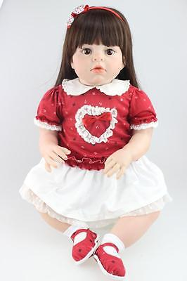 "Large Size 28"" Silicone bebe Reborn Toddler Dolls Lifelike Real Girl Soft Touch"