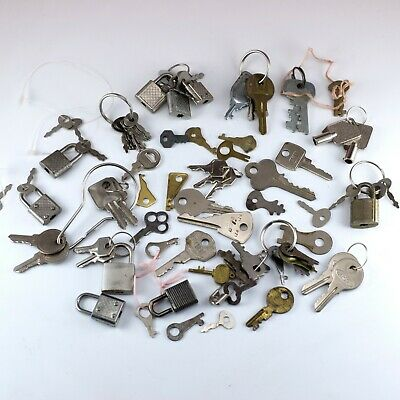 Vintage Lot of Old Keys and Small Locks Assorted Types