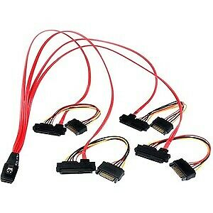 NEW! Startech 50Cm Internal Serial Attached Scsi Mini Sas Cable Sff8087 To 4X Sf