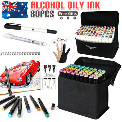 80 Colors Set Oil Marker Pen Dual Head Tip Artist Sketch Copic Animation Graphic