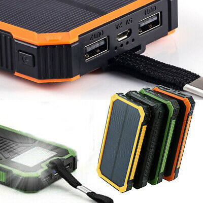 30000mAh Dual USB Portable Solar Battery Charger Solar Power Bank Case For Phone