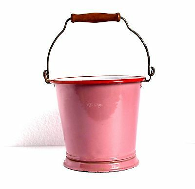 Enamel Water Bucket Old Antique Vintage Kitchenware Collectible A-9