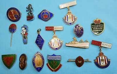 VINTAGE COLLECTION ENAMEL BADGES - NICE LOT Inc SHIPPING SONG UNION HOSPITAL