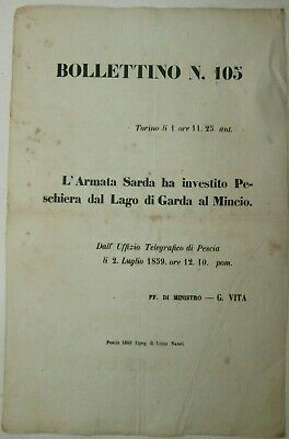 Raro Introvabile ORIGINALE Antico documento Guerra Indipendenza 1859 Peschiera