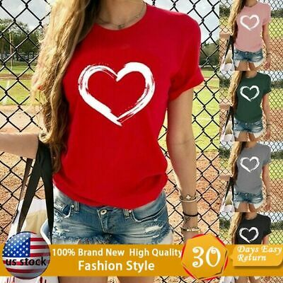 Women's Fashion tops Love Print Short Sleeve T-Shirt Casual Graphic Tess Tops