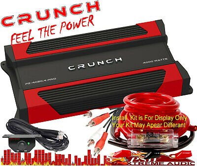 PZ40204PRO Crunch POWERZONE 4000 Watt 4-Channel Class AB Amplifier w-Install Kit