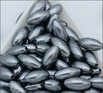 Gunmetal Color Oval Acrylic Rice Spacer Beads (100)