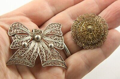 Vintage Art Deco c 1930's silver filagree brooch pin lot bow