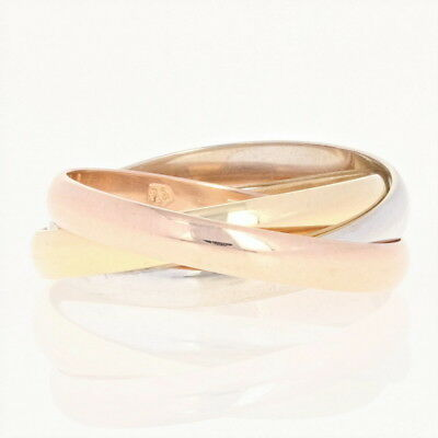 Cartier Rolling Ring - 18k Yellow, White, & Rose Gold Women's Band Size 4 3/4