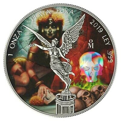 CRYSTAL SKULL Day of the Dead Libertad 1 Oz Silver Coin Mexico 2019